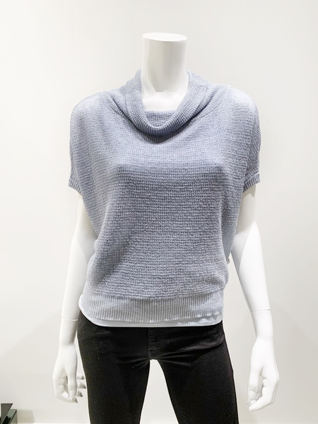 Sarah Pacini linen cowl neck cap sleeve sweater- pale blue