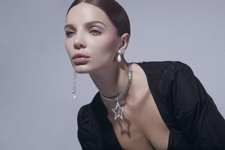 Joomi Lim Crystal Star & Pearl Earrings