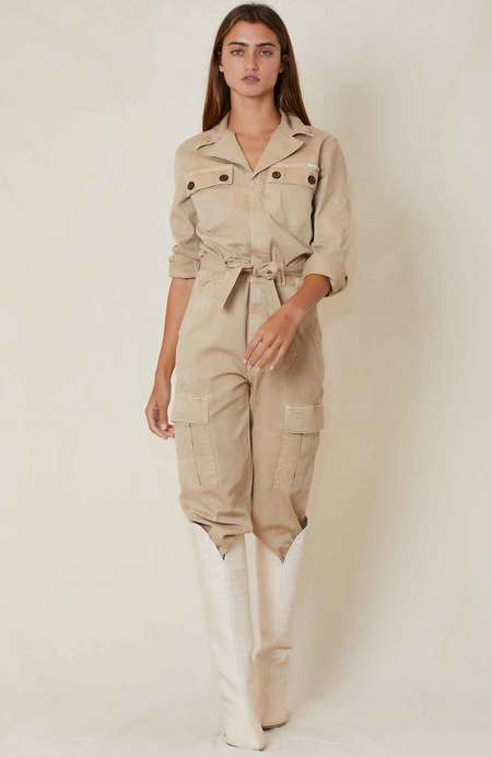 Mother Denim The Cargo Fixer Jumpsuit - Medium Khaki