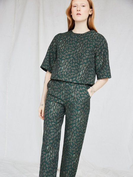 Eve Gravel Clint Pant - Emerald Jacquard