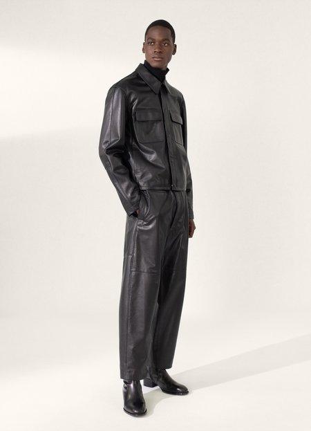 Lemaire Cowhide Large Collar Leather Blouson - Black