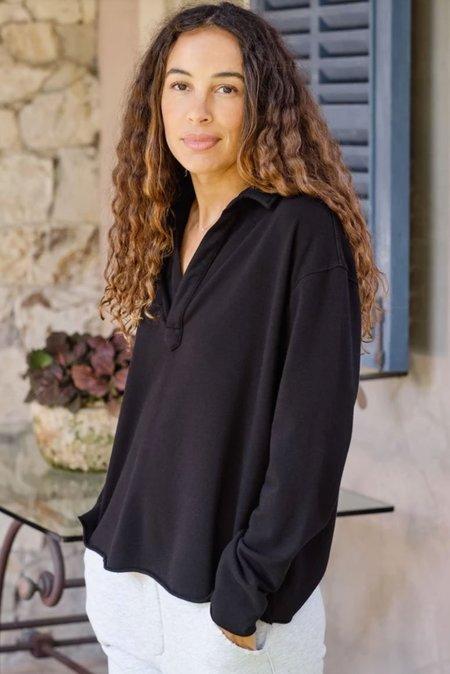 Tee Lab Popover shirt Henley - black