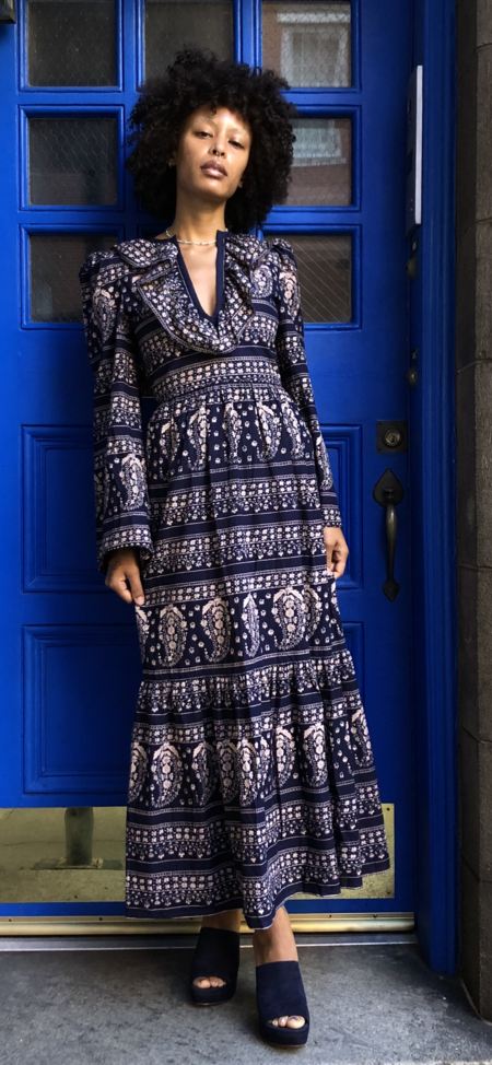 Alix of Bohemia Daphne Paisley Dress - navy