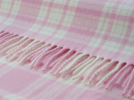 Kids Pink Merino Lambswool Mini Set of 2 Cushions - pink/white