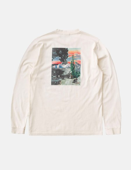 Nudie Jeans Rudi Someplace Collage Long Sleeve T-Shirt - Chalk White