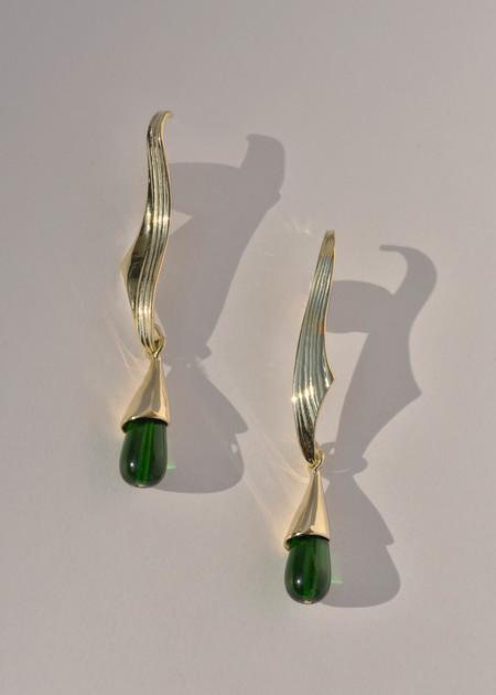 Leigh Miller Grape Leaf Earrings - brass