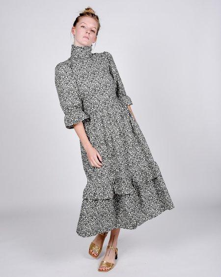 Meadows Clematis floral cotton dress - BLACK/WHITE