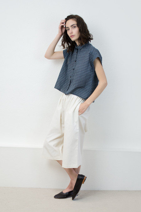 Micaela Greg Grid Piece Sleeve Button Up