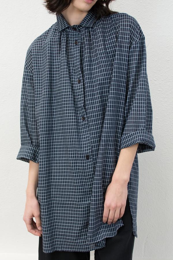 Micaela Greg Long Sleeve Grid Button Up