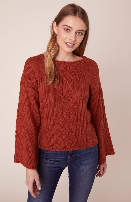 BB Dakota Retro Active Cable Knit Sweater - Rust