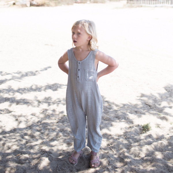 nico nico Reed Textured Romper Almond