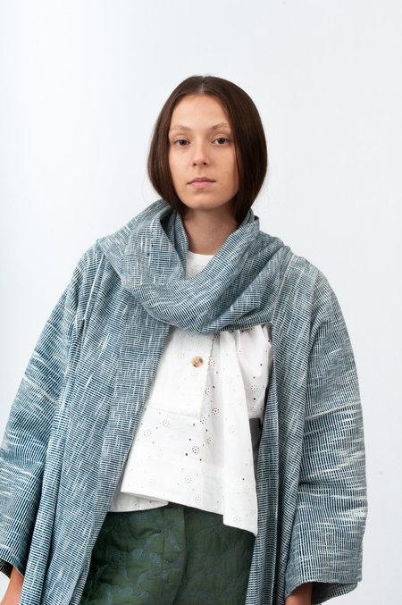 Untitled.CO Meni Scarf Robe Coat - Indigo Melange