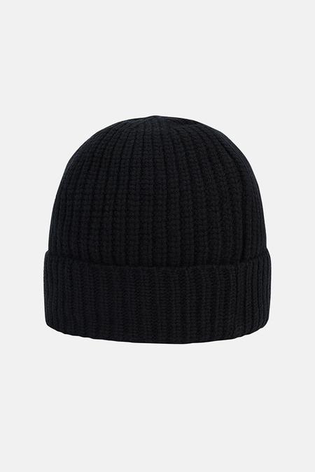 Stone Island Men's Stone Island Ribbed Wool Beanie Cap - Black