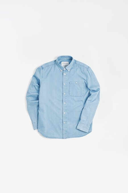 A Kind Of Guise Permanents Button Down Shirt - Bleached Blue Denim