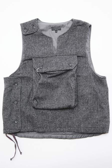 Engineered Garments Cover Vest in  Poly Wool Herringbone - Grey