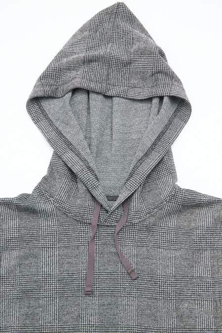 Engineered Garments Hooded Interliner in PC Knit Glen Plaid - Grey