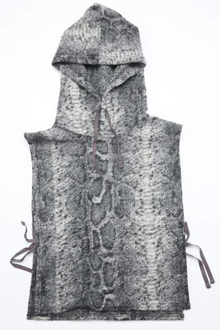 Engineered Garments Hooded Interliner in Poly Wool Snake Print Knit - Grey