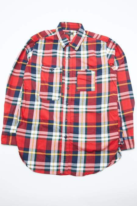 Engineered Garments Work Shirt in Cotton Twill Plaid - White/Red/Green