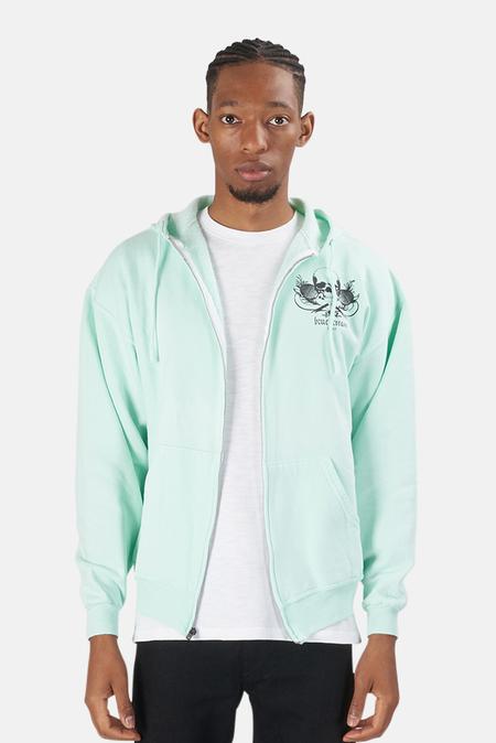 Blue&Cream Skull Hoodie Sweater - Mint/Black