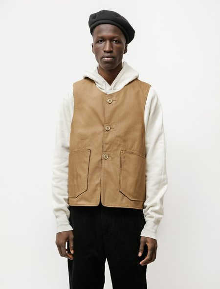 Engineered Garments Over Vest in Cotton Herringbone Twill - Brown