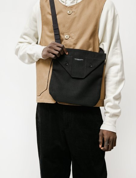Engineered Garments Shoulder Pouch in Faux Melton - Black