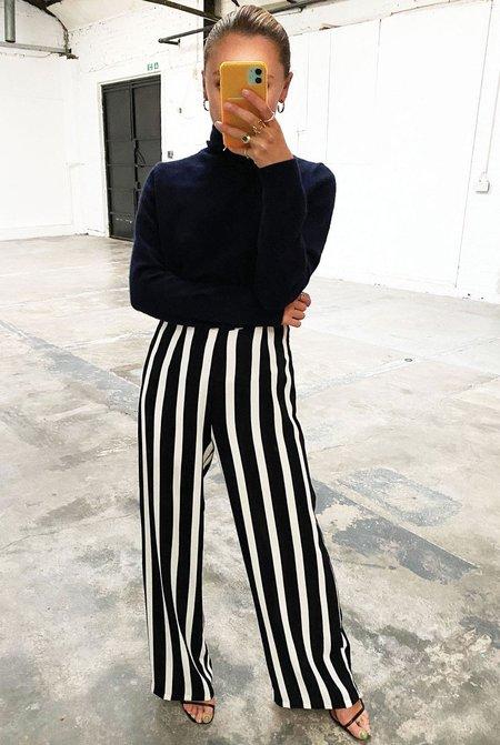 NEVER FULLY DRESSED Stripe Trouser - black/white