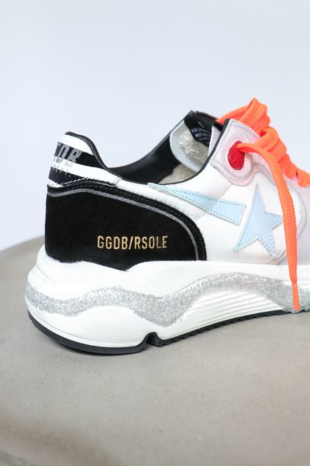Golden Goose Running Sole Nylon Sneaker with Upper Leather and Star Zebra Print Heel