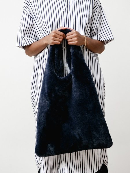 Priory Faux Fur Shopping Tote - Navy