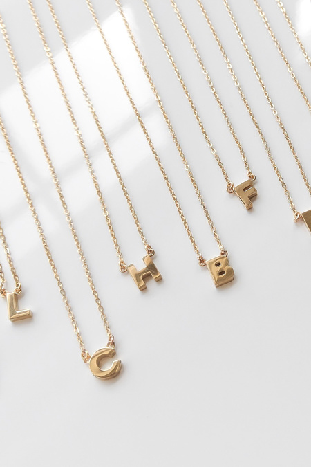 Thatch Initial Necklace - 14k Gold Plated
