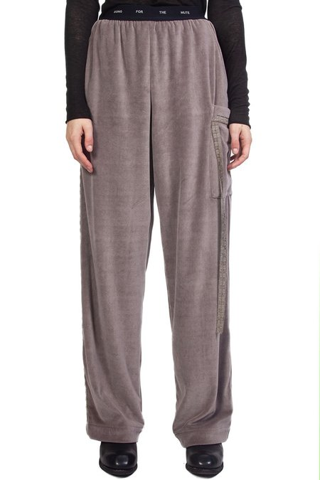 Song for the Mute Branded Elastic Wide Leg Pant - Taupe