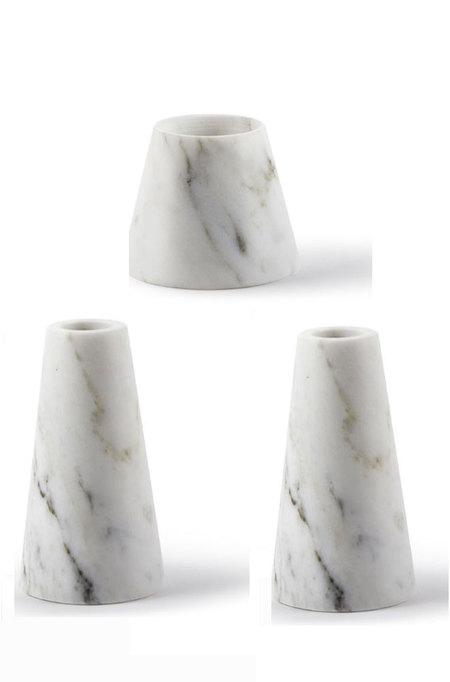 Atipico Tellus Carrara Marble Candle Holders Set
