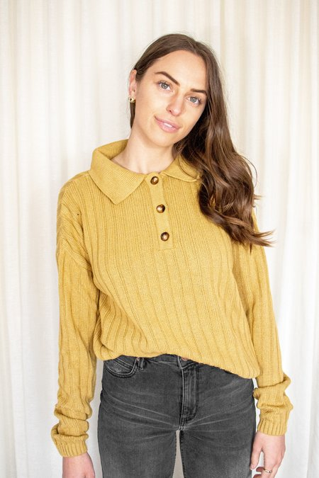 Rita Row Frida Knit Long Sleeve Polo - Mustard Yellow