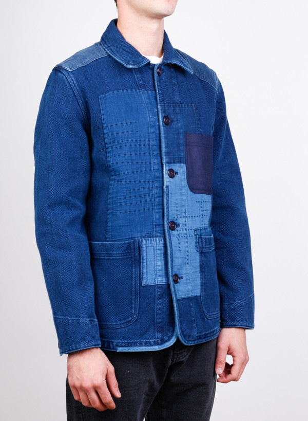 "Blue Blue Japan Woven Pure Indigo ""Sashiko"" Hand Patchwork Jacket"