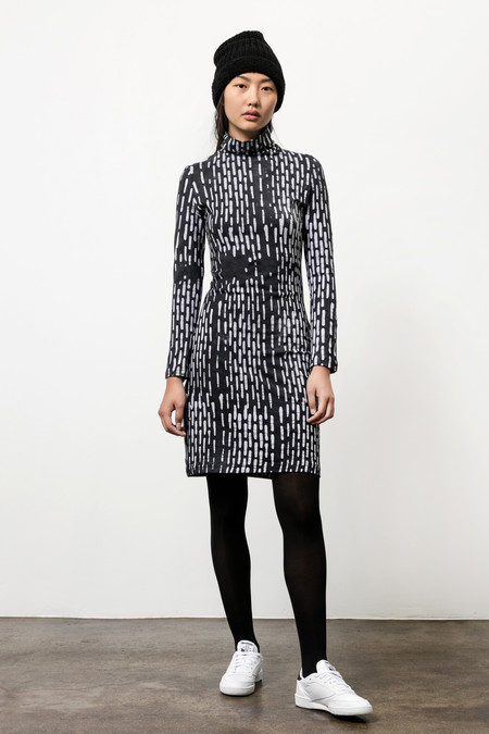 Osei-Duro Turtleneck Dress - Black & White Broken Lines