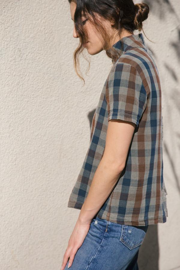 stateside plaid button blouse