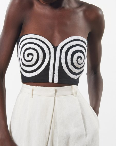 Mara Hoffman Mati Crop Top - Black/White