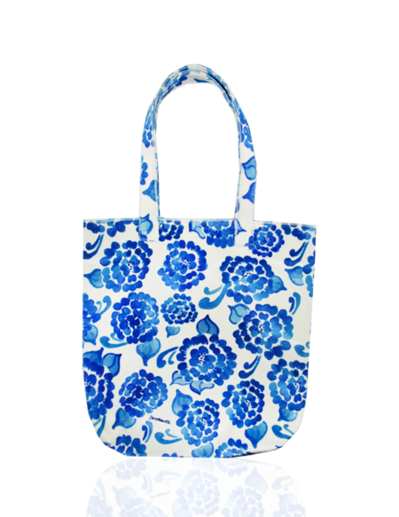 Dauphinette Chinoiserie Painters Tote - White/Blue