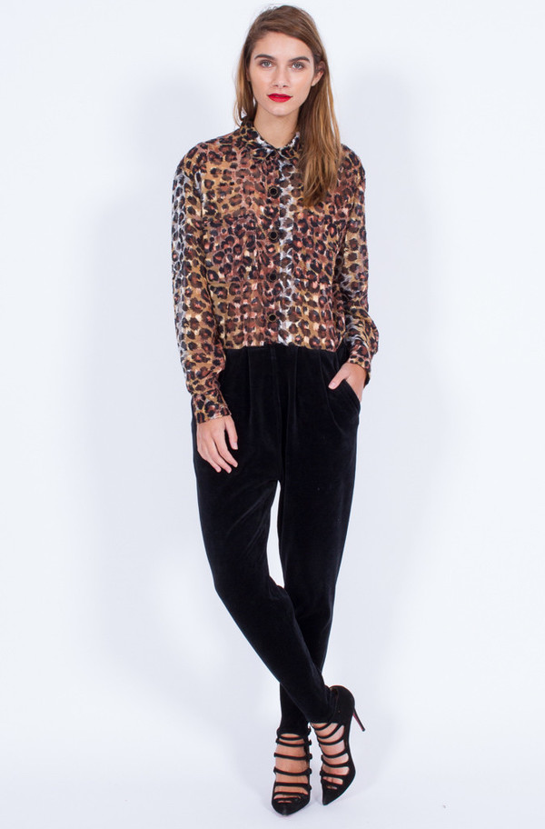Yo Vintage! VELVET AND SHEER LEOPARD JUMPSUIT (SMALL-MEDIUM)