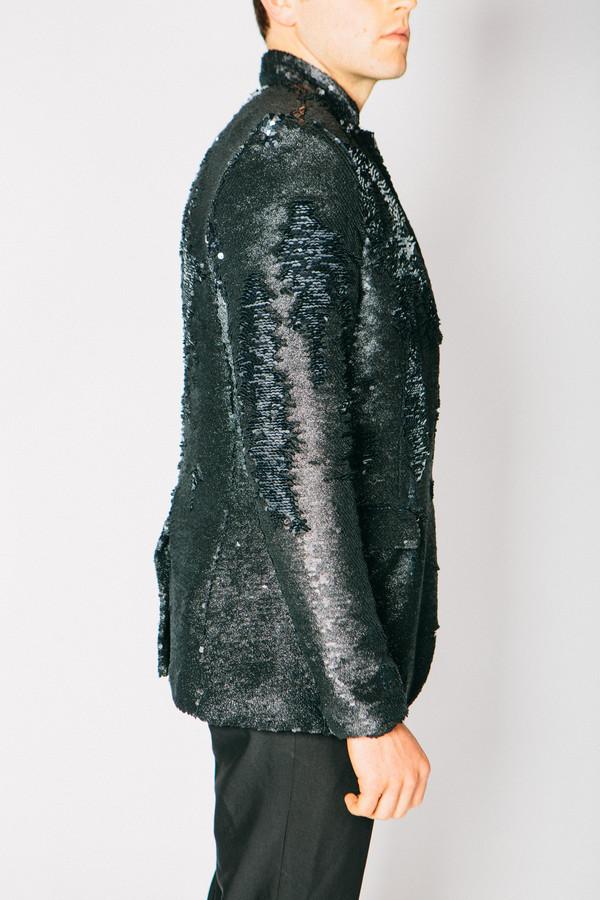 Men's Any Old Iron Black Glitter Sequin Jacket