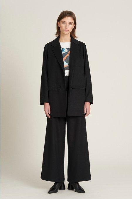 we.re slit wool trouser -  black
