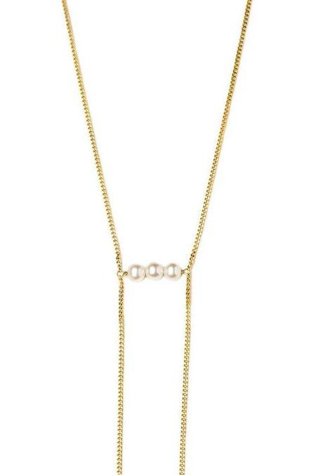 Vibe Harslof Iris 3 Pearls Necklace - 18 kt gold-plated sterling silver