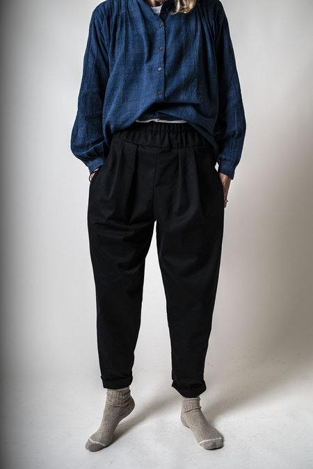 F O L D Elasticated Slouch Pants - Stripe Denim