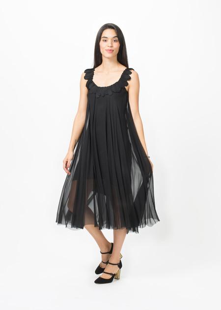 Louiza Babouryan Petal Strap Chiffon Dress