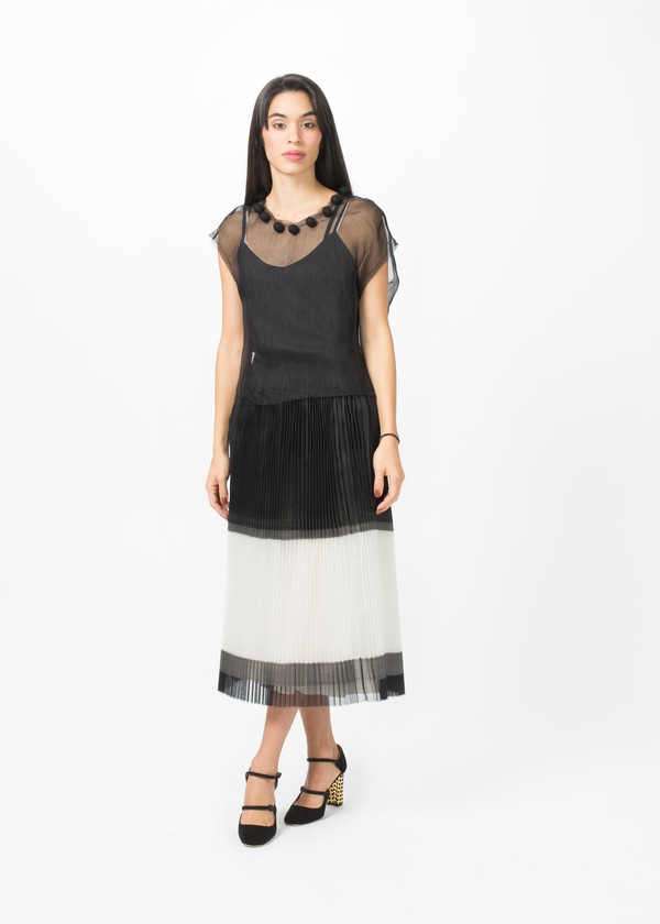 Louiza Babouryan Sheer Pom Pom Top