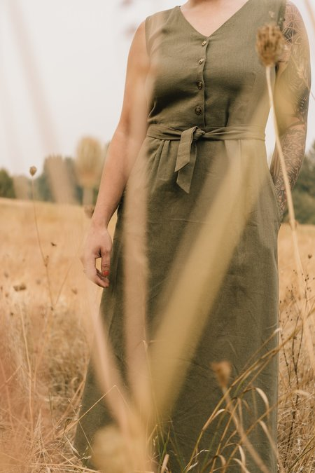 Field Day Ever Linen Dress - Olive