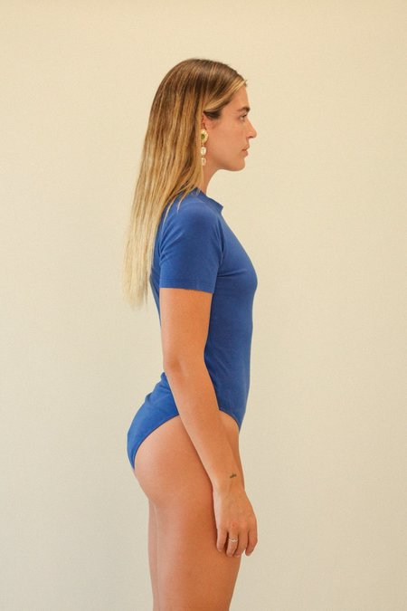 Kk Co Studio Short Sleeve Bodysuit - Cobalt