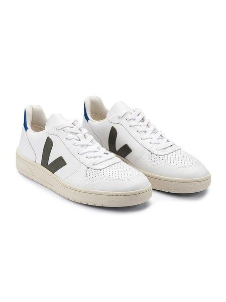 VEJA V-10 Leather - White/Kaki/Indigo