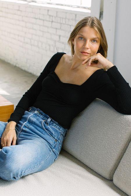 Rachel Pally Rib Long Sleeve Anju Top - Black