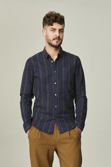 Delikatessen Slim Fine Italian Flannel Shirt - Blue/Grey/Black