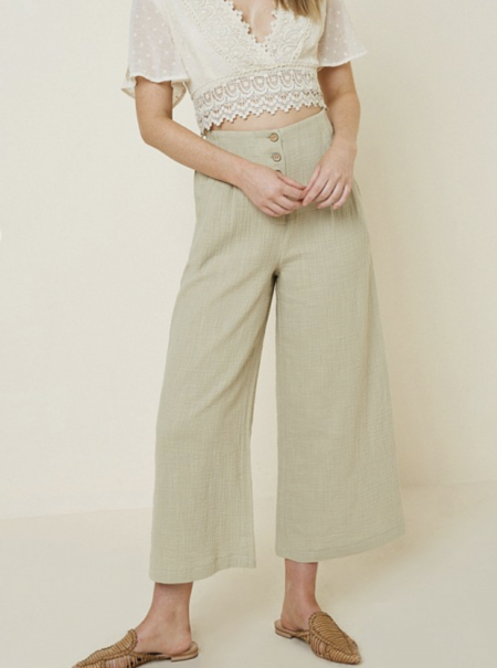 Hayden LA Button-Up Culottes - Taupe